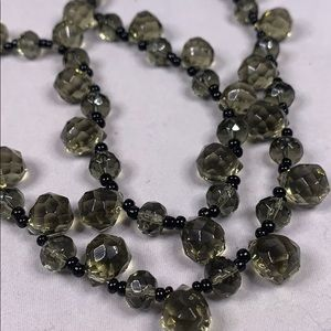 Vintage Smoky glass bead necklace